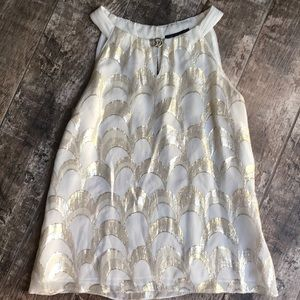 Beautiful silk sleeveless blouse w/ gold thread